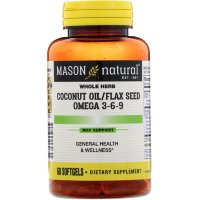 Mason Natural Coconut oil / flax seed + Омега 3-6-9  60 Softgels